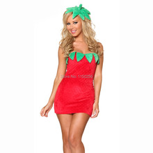Cosplay Fancy Dress Miss Sexy-Strawberry-Costume Santa Claus Women Christmas Costume New Free Shipping