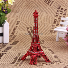 13CM Red Painted Paris Eiffel Tower Figurine With Rhinestone