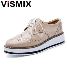 VISMIX 2017 Spring Women Platform Shoes Woman Brogue Patent Leather Flats Lace Up Footwear Female Flat Oxford Shoes For Women(China)