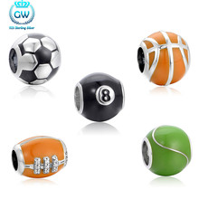 High Really Soccer Ball Beads Fit Original Pandora Bracelet Authentic 100% 925 Sterling Silver Jewelry 5 Style To Choose 40(China)