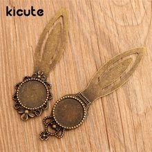 Kicute 5pcs/lot Vintage Design Metal Bookmarks Round Antique Bronze Cabochon Setting DIY Accessories For Gift Collection