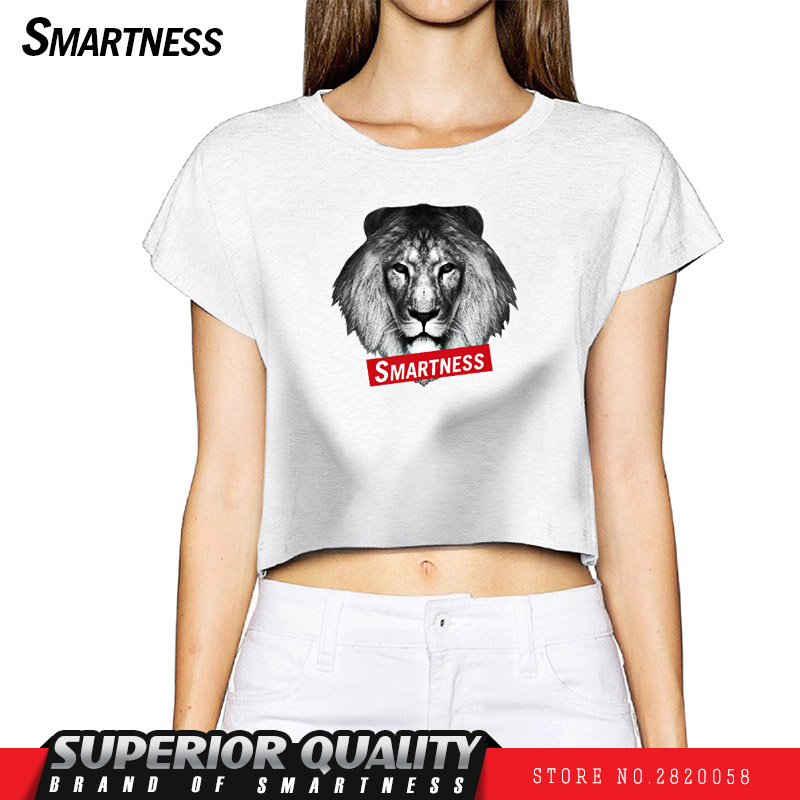 SMN Hot New 2017 digital direct injection photos of the fashion Lion pattern ladies top women's short t-shirt casual tide card(China (Mainland))