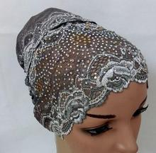 lace cap bonnet cap with beads Headwrap hat lace back close inner hijab mixed 8 Colour 36pcs/lot free ship