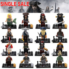 Single Sale Pirates of the caribbean Jack Sparrow Elizabeth Mermaid Mini Dolls Building Block toys collection children gift