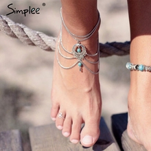 Simplee Summer beach hollow out gold chains Casual beach sliver bijoux boho jewelry Vintage multiple chains women accessories(China)