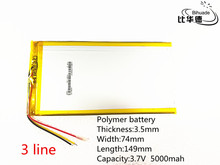 3 line 10pcs Free shipping Polymer lithium batteries 3.7V 5000mAh 3574149 For Onda Rechargeable Li-ion Cell 7 inch 8 inch 9inch(China)