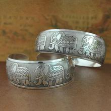 New Vintage Elephant Tibetan Tibet Silver Plated Bracelets Charming Elegant Round Metal Cuff Bangles Women Jewelry