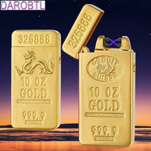 Creative gifts of gold bullion USB rechargeable lighter double arc electronic pulse cigarette lighter windproof lighter