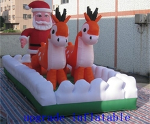inflatable santa claus:Santa Claus rides the reindeer and the sled,chasing the sky flying aurora