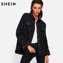 SHEIN Studded Frayed Hem Denim Jacket Autumn Women Coats Black Lapel Single Breasted 2017 Women's Jackets and Coats(China)
