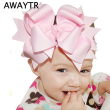 AWAYTR Big Bowknot Girl Hair Accessories New Infant Headband Children Elastic Hair Bands Ribbons + Hair Bow with Clips