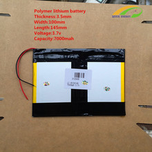 3.7v 7000mAH (polymer lithium ion battery) Li-ion battery for tablet pc 9.7 inch 10.1 inch speaker [3.5*100*145]