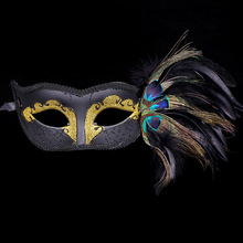 2017 Amazing Free Shipping Half Plastic Mask Venetian Black White Purple Blue Yellow Party Sexy Lady Peacock feather Mask