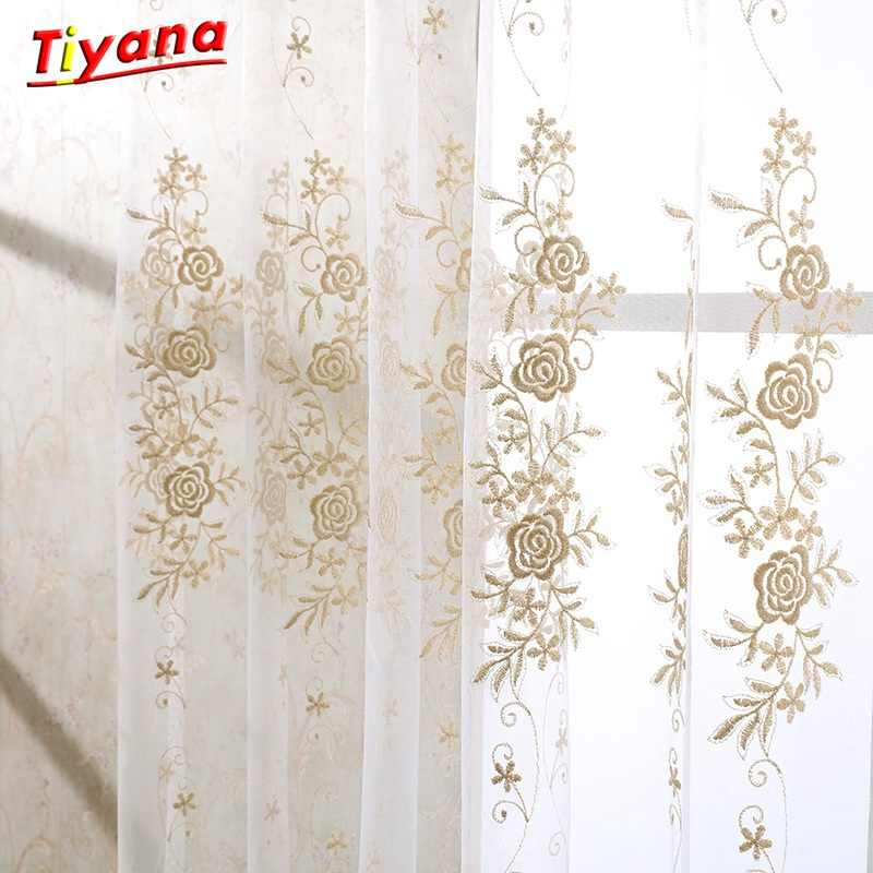 Luxury Modern Floral Design Curtain Tulle Window Sheer Curtain For Living Room Bedroom Kitchen Window Screening Panel Su364 *30