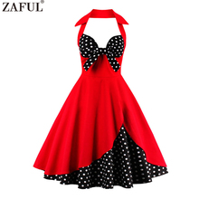 ZAFUL 2017 Plus Size S~4XL Cotton Women Vintage Dress Floral Pattern Print Summer Dresses 60s Rockabilly Party Feminino Vestidos(China)