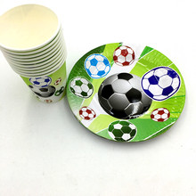 20pcs/lot football plates cups kids birthday party supplies football paper glass plates happy birthday party supplies