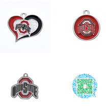 Fishhook 20pcs/lot Sports OSU Ohio State Football Buckeyes Swirl Heart Enamel Charms for Necklace and Necklace Pendant for Fan(China)