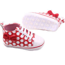 Girl Slip-On Sneaker Toddler Kid Comfy Polka Dots Pu Leather Baby Shoes