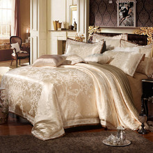 4/6Pcs Luxury Silk Oriental Bedding set Queen/King Size Golden Beige Wedding Bed linen Duvet cover Pillowcase sham