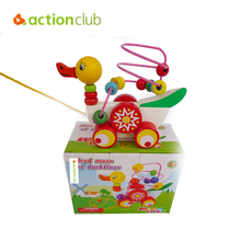 Actionclub Cartoon Duck Pull Baby wooden Mini around beads Wire maze Colorful Educational game Children Toys Free shipping