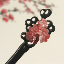 New Ethnic Jewelry Vintage Wooden Hair Sticks Handmade Resin Plum Blossom Flower Ebony Headwear Bridal Hair Accessories(China)