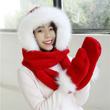 Faux Fur Hood Womens Hat Ear Flaps Hand Pockets 3 pcs  Hat Wolf Plush Winter Warm Cap with Long Scarf Mittens Gloves