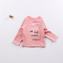 2016 autumn new arrival baby girls umbrella letter print T-shirts toddler kids cotton jumpers