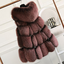 2017 New Arrival Real Fox Fur Vest With Hooded Women Fashion Winter Natural Fur Vests Thick Warm Coats Female Skirt Long Jacket(China)