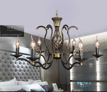 AC110 220V European vintage candle hanging pendant lights iron Metal Traditional lamp living room bedroom American country lamps