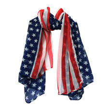 Women Fashion Summer Soft Silk Chiffon American Flag Scarf Scarves Casual multifunctional foulard femme Comfortable