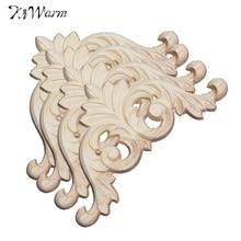 Kiwarm Винтаж 8x8 см неокрашенное Дерево Резные углу накладка аппликация стены Craft Мебель для дома двери шкафа украшения Craft(China)