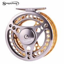 Sougayilang 7/8 WT Fly Fishing Reel CNC Machine Cut Fishing Reel Large Arbor Die Casting Aluminum Fly Reel Wheel Fishing Tackle(China)