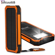 Tollcuudda 10000mAH Solar Power Bank Waterproof LED Light Portable Phone Charger External Battery Double USB Port for Iphone