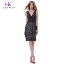 Grace Karin Cocktail Dresses 2017 Short Black Formal Gowns Bodycon Wrap Lace V Neck Celebrity Party Special Occasion Dresses(Hong Kong)