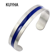 Stainless Steel Bangle Blue Enamel Line Fashion 13mm Wide Women Men Inlay Cuff Bracelets Stainless Steel Bangle(China)