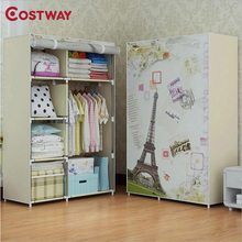 COSTWAY Bedroom Print Non-woven Wardrobes Cloth Storage Saving Space Locker Closet Sundries Dustproof Storage Cabinet W0102(China)