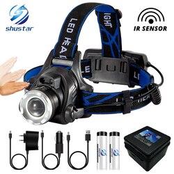 ИК-датчик, светодиодный налобный фонарь, рыболовная лампа, супер яркий светодиодный налобный фонарь, T6/L2/V6, лампа с бусинами, поддержка увели...