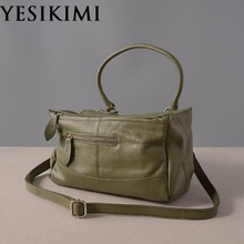 YESIKIMI Women's Genuine Leather Bag Real Cow Skin Pandora Box Bags Doctor Bag Vintage Bolsos Good Quality(China)