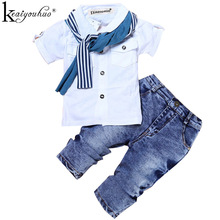 Children Clothing Toddler Boys Clothes Sets Summer Short Sleeve T-shirt+Jeans For Sport Suits Wear 2 3 4 5 6 7 Year Kids Clothes()