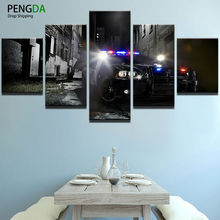 PENGDA Decor Pictures Vintage Home Decor Paintings 5 Panel The Police Car On Canvas Posters And Prints Pictures On The Wall