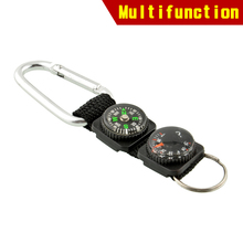 Multifunction Outdoor Survival Camping Carabiner w/ Keychain Compass Thermometer hanger Key Ring 3 in 1 Useful