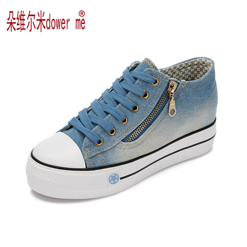 Fashion High Platform Denim Shoes for Women 2017 Breathable Thick Heel Canvas Shoes Women Casual Trainers<br><br>Aliexpress