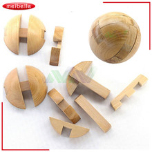 7*7*7cm Intelligence Locks Old China Ancestral Locks Traditional Wooden Brain Teaser Puzzle Educational Toys Magic Cube balls
