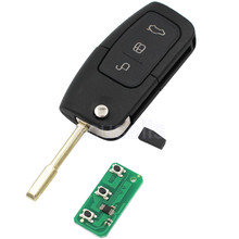 Flip/Folding Keyless Entry For Ford Focus For Mondeo Transit 3 Button Remote Key + New Remote + Transponder 4D60 Chip