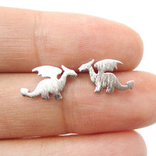 Yiustar Cheap Fashion Jewelry Small Dragon Silhouette With Wings Animal Shaped Stud Earrings Handmade Jewelry Button Earrings(China)