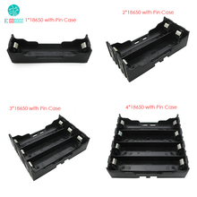 1*18650 2*18650 3*18650 4*18650 Battery Box with Pin Storage Battery Case Holder Black Plastic 1/2/3/4pcs 18650