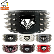 "4 Rows Sharp Spiked Dog Collar Soft Leather  Pet Walking Collar 3"" Width for Large Breeds"