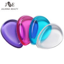 1Pc New Jelly Powder Puff Waterdrop Silicone Gel Sponge Clear Pink Blue For Lady Face Foundation BB Cream Cosmetic Makeup Tool(China)