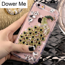 Dower Me Fashion Bling Crystal Diamond Beautiful Peacock Phone Case Cover For Iphone X 8 7 6 6S Plus 5 5S SE 5C 4 4S(China)