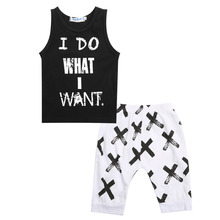 Summer Boys Clothes 2016 New Baby Boy Clothing Set Pattern Letter Toddler Boys Clothing Plaid Kids Clothes Children Clothing Set(China)